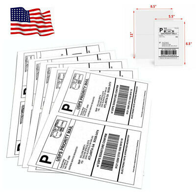 200 Half Sheet Shipping Mail Labels 8.5x5.5 Self Adhesive For Paypal Usps Blank