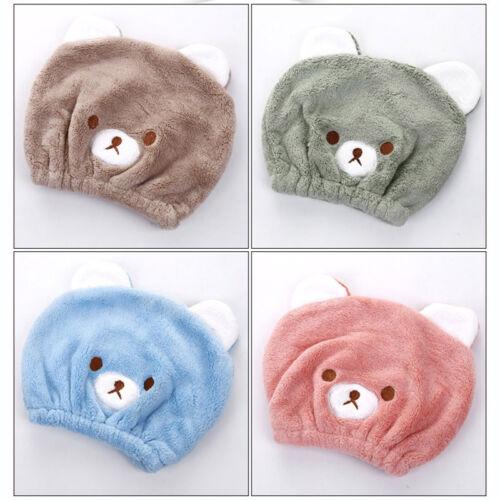 2Pcs Adorable Bear Child Hair Turban Cap Hat Towel Head Wrap