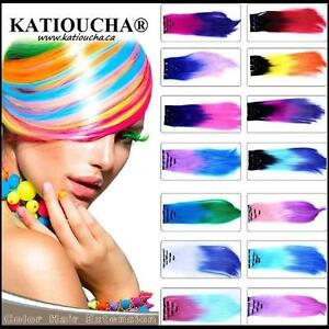 One (1) Clip In Hair Synthetic Highlight Extension,Heat resistant  /20''(51 cm) ALL COLORS/Mèche de Cheveux à Clip
