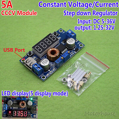 Display Led 5a Cccv Constant Current Voltage Adjustable Buck Module Board Meter