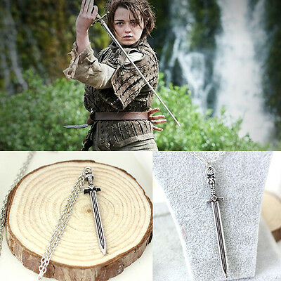 Free Shipping Game of thrones inspired Arya stark Needle Sword Necklace