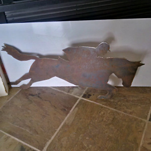 Vintage / Antique Jockey Cheval Plaque Décoration Horse Jockey