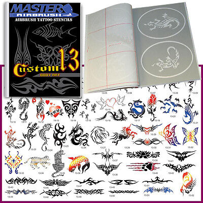 SET 13 BOOK 53 Reusable Airbrush Temporary Tattoo Stencil Art Designs Template