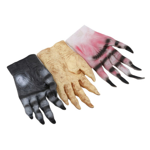Scary Devil Demon Gloves with Glitter Nails Halloween Women Cosplay Fancy Dress