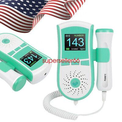 New Fetal Doppler Heartbeat Detector Ultrasonic Monitor Prenatal 3mhz Probegel