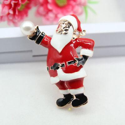 Flashing Christmas Brooch Novelty Xmas Badges Pins Santa Claus Jewelry Gifts