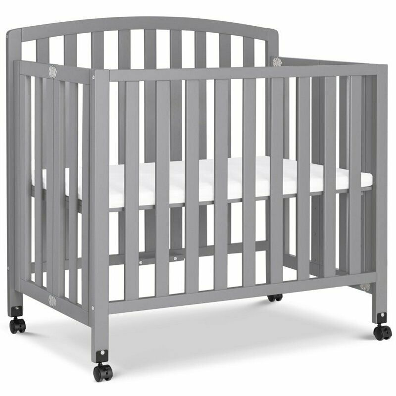 Davinci Dylan Portable 3 in 1 Convertible Mini Crib and Twin Bed in Gray