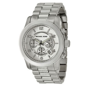 NEW Michael Kors MK8086 Men's Oversized Chrono Silver Watch