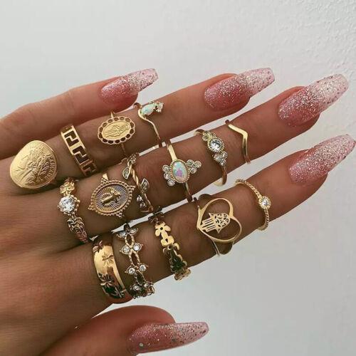 15 Pcs/set Gold Midi Finger Ring Set Vintage Punk Boho Knuck