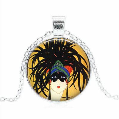 Mardi Gras Jewelry Wholesale (MARDI GRAS Tibet silver Glass dome Necklace chain Pendant)