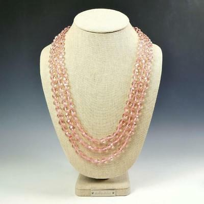 Sparkling Faceted Light Pink Crystals Bead Knotted 72