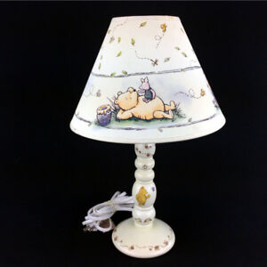 Winnie The Pooh Lamp & Shade White Wood Nursery Baby Bedroom