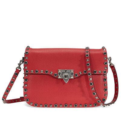 Valentino Rockstud Rolling Leather Shoulder Bag - Red