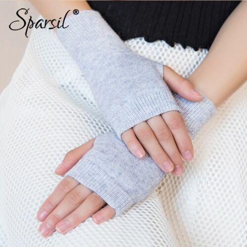 Women Fingerless Wool Gloves Warm Winter Autumn Knitted Solid Stretch Mittens