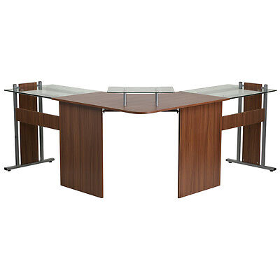 Teakwood Laminate L Shaped Corner Desk With Pull-out Keyboard Tray And Cpu Cart