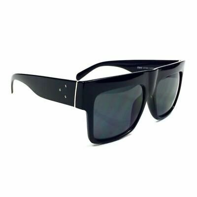 AVIATORS OVERSIZED BLACK DARK CELEBRITY SUNGLASSES ZZ TOP DARK LENS, BLACK (Dark Sunglasses Zz Top)