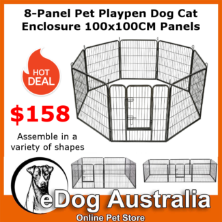 8-Panel Pet Playpen Pet Enclosure 100x100cm medium large dog