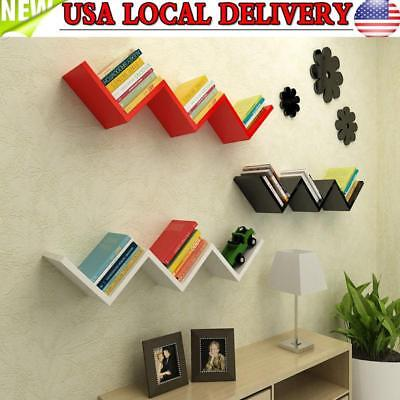 Floating W Shelves Wall Mounted Shelf Display Storage Modern Home Office Decor