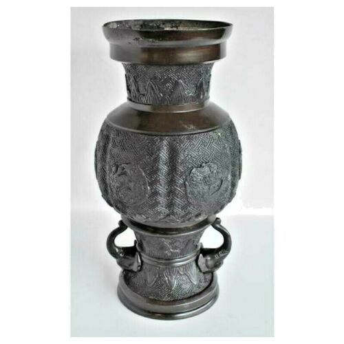 VERY HANDSOME LARGE DRAGON BRONZE VASE with ELEPHANT HANDLES FINE PATINA