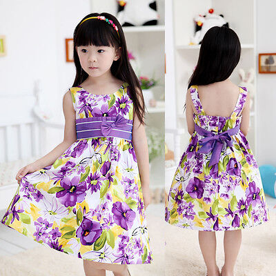 Girls Dress Fashion Flower Print Cotton Sundress Party Casual Kids Clothes 4 12Y