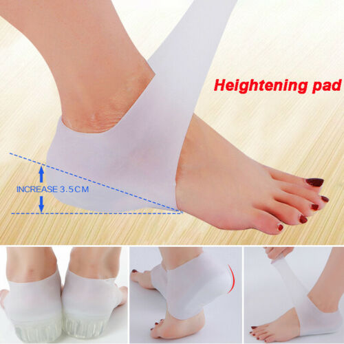 Unisex Invisible Height Increase Socks Heel Pads Silicone Insoles Foot Massage Clothing & Shoe Care