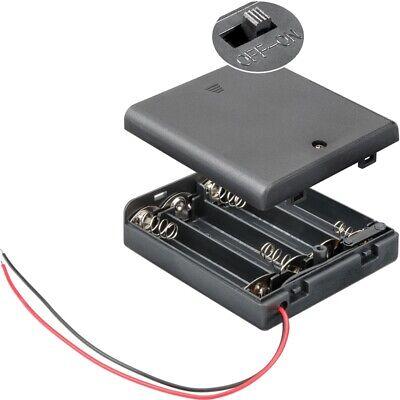 Batterie-/Akku-Halter für 4x Mignon-Zellen mit Kabel+Gehäuse+Schalter