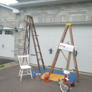 2 NOW *1* WOOD LADDERS,VINTAGE CANS, MAILBOX+MORE