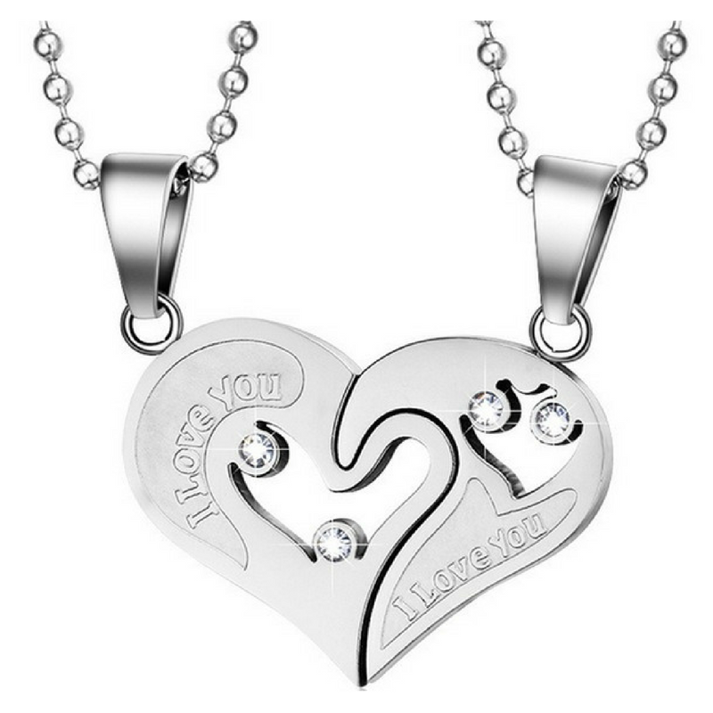 Jewellery - His and Hers Stainless Steel I Love You Heart Men Women Couple Pendant Necklace