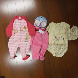 New with tags baby girl clothing, 3 mos. Larger sizes too.