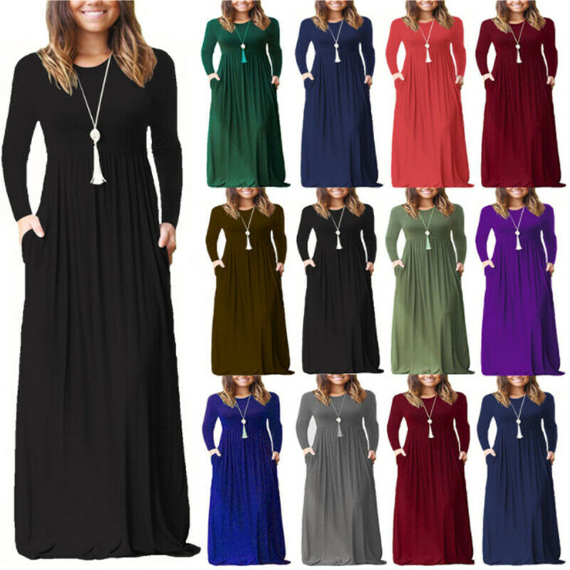 Women Boho Bodycon Crew Neck Casual Pocket Long Sleeve Stretch Party Maxi Dress