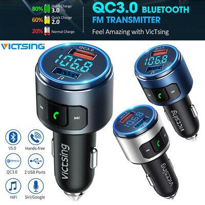 VicTsing Bluetooth 5.0 FM Transmitter QC3.0 Charger Car Radio Adapter HIFI Siri