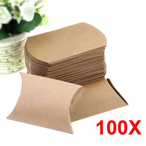100Pcs Mini Kraft Paper Pillow Candy Box Wedding Favor Gift Party Supply