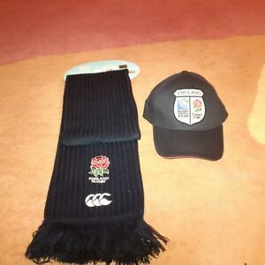 Official England English Rugby World Cup Cap and Scarf Set.