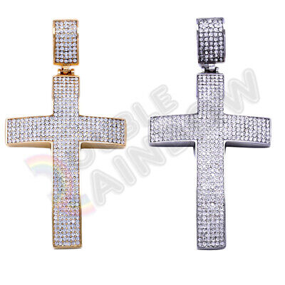 - Men's Stainless Steel Gold Silver Iced Out Hip-Hop CZ Bling Cross Pendant P54