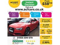 2014 RED AUDI A5 2.0 TDI 177 BLACK EDITION DIESEL COUPE CAR FINANCE FR £58 PW