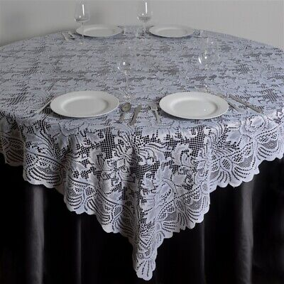 """72x72"""" White LACE Table Overlay with LARGE FLOWERS Wedding Party Catering Linens"""