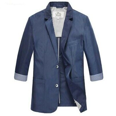 Men Coats Two Button Notched Collar 3/4 Sleeve Leisure Blazer Jacket Outwear New