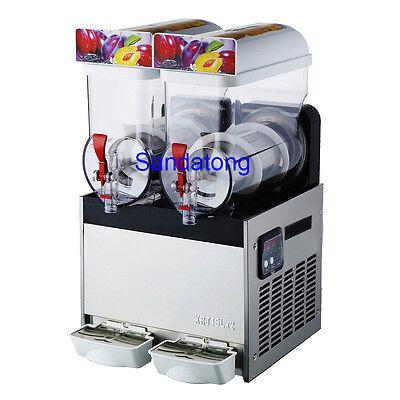 15l2 Tank Commercial Frozen Drink Slush Slushy Machine Smoothie Maker 110v