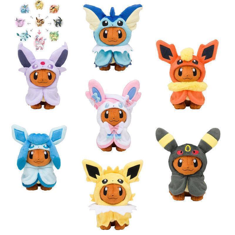 New Pokemon Plush Doll Eevee Poncho Sylveon Vaporeon Espeon