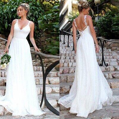 Womens Lace Bridal Formal Wedding Dress Sexy Sleeveless Backless Maxi Dress