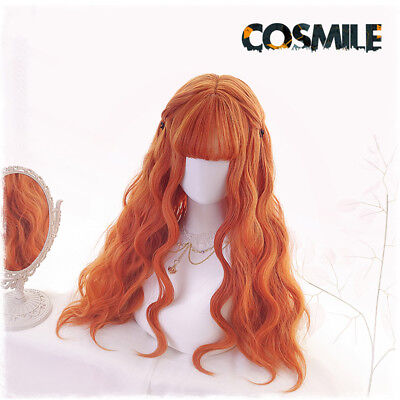 Hanfu Lolita Harajuku Orange Curly Hair Wig Cosplay Loli Soft Girl 70cm MW Sa
