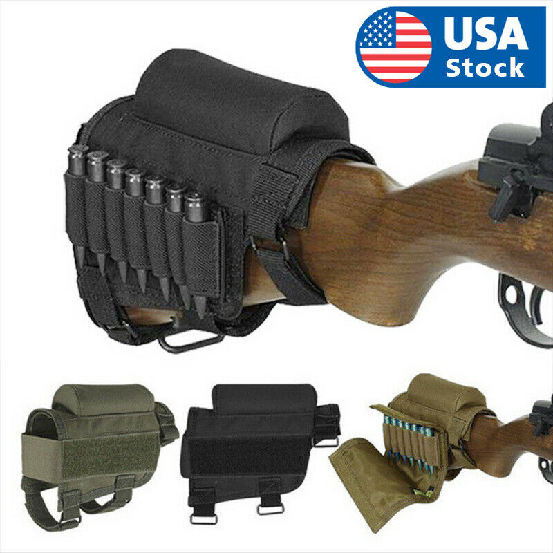 Tactical Rifle Butt Stock Cheek Rest Pad Left/Right Hand Ammo Carrier Pouch Bag Holsters, Belts & Pouches