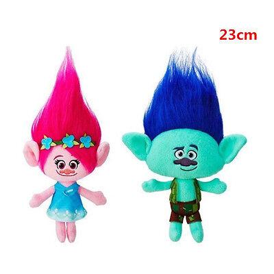 2pcs Trolls Plush Poppy&Branch Hug 'N DreamWorks Movie Doll Kids Toys Gift 23cm
