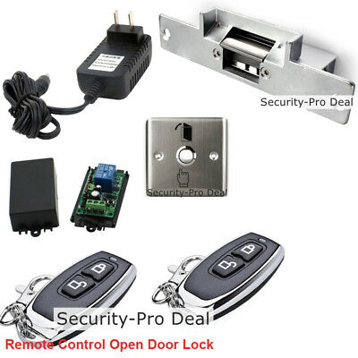 Door Access Control System With Electric Strike Lock +2 Wireless Remote Controls