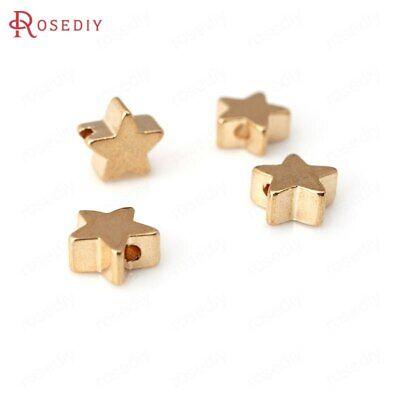 - 10PCS 5MM 6MM 7MM 8MM 24K Gold Color Brass Star Bracelets Spacer Beads