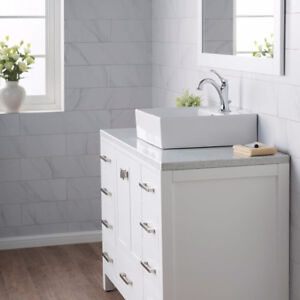 Kraus KCV150 White Square Ceramic Over-the-Counter Bathroom Sink