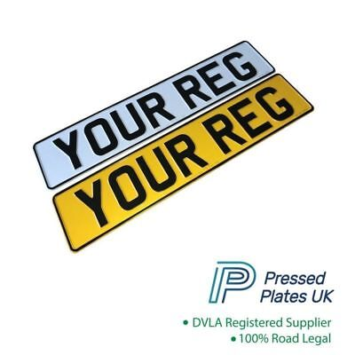 Set of PRESSED NUMBER PLATES Metal Car Registration Plate Embossed Reg Plate