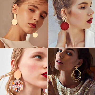 Fashion Women Statement Boho Geometric Acrylic Metal Stud Dangle Drop Earrings