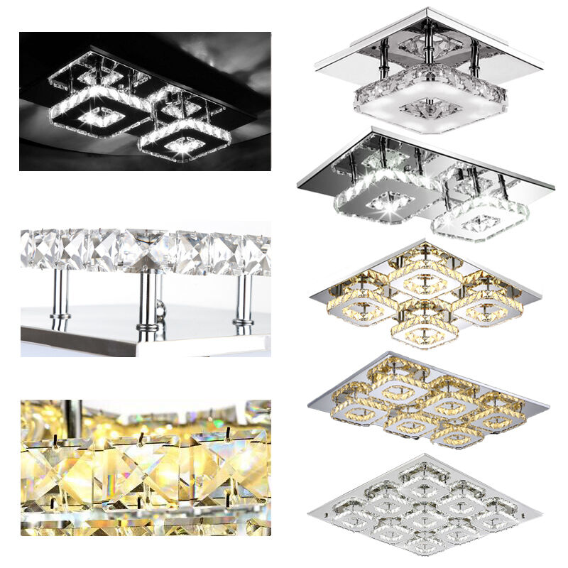 kristall led deckenlampe dimmbar flurleuchte schlafzimmer wandlampe beleuchtung ebay. Black Bedroom Furniture Sets. Home Design Ideas