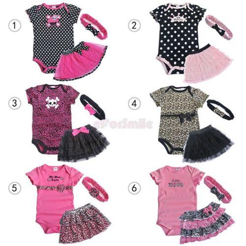 3pcs Girl Baby Newborn Romper Bodysuit+Tutu Skirt+Headband ...